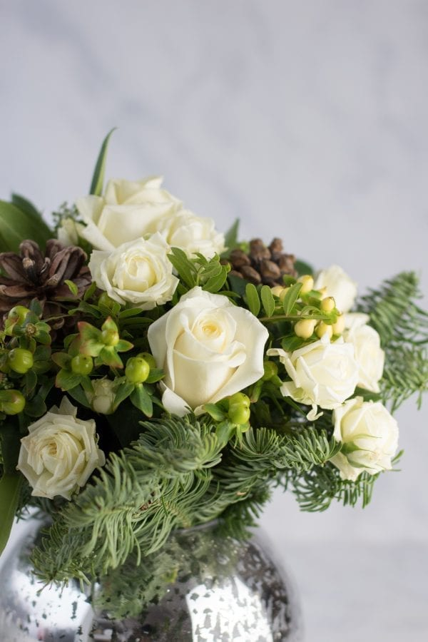 Winter White Hand tied Vase Arrangement
