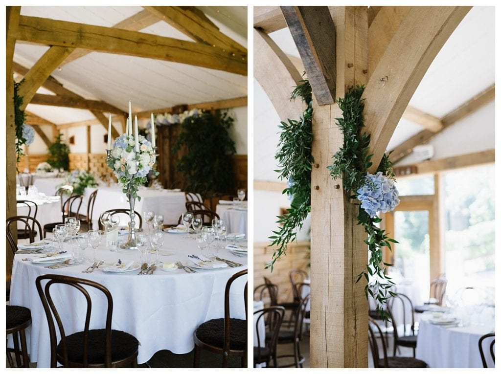 Cripps barn decorated for the wedding reception and breakfast