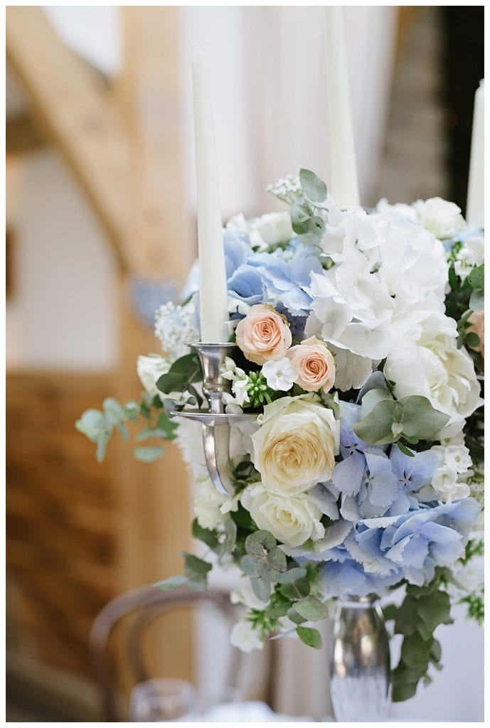 White, blue and peach candelabra