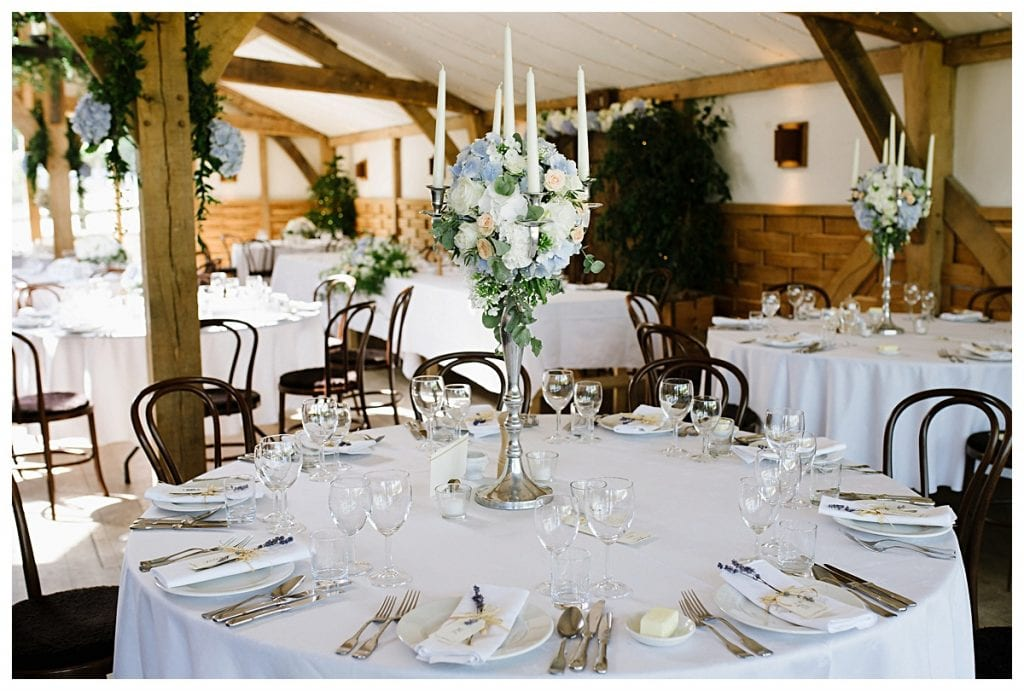 Candelabras on the tables at Cripps Barn