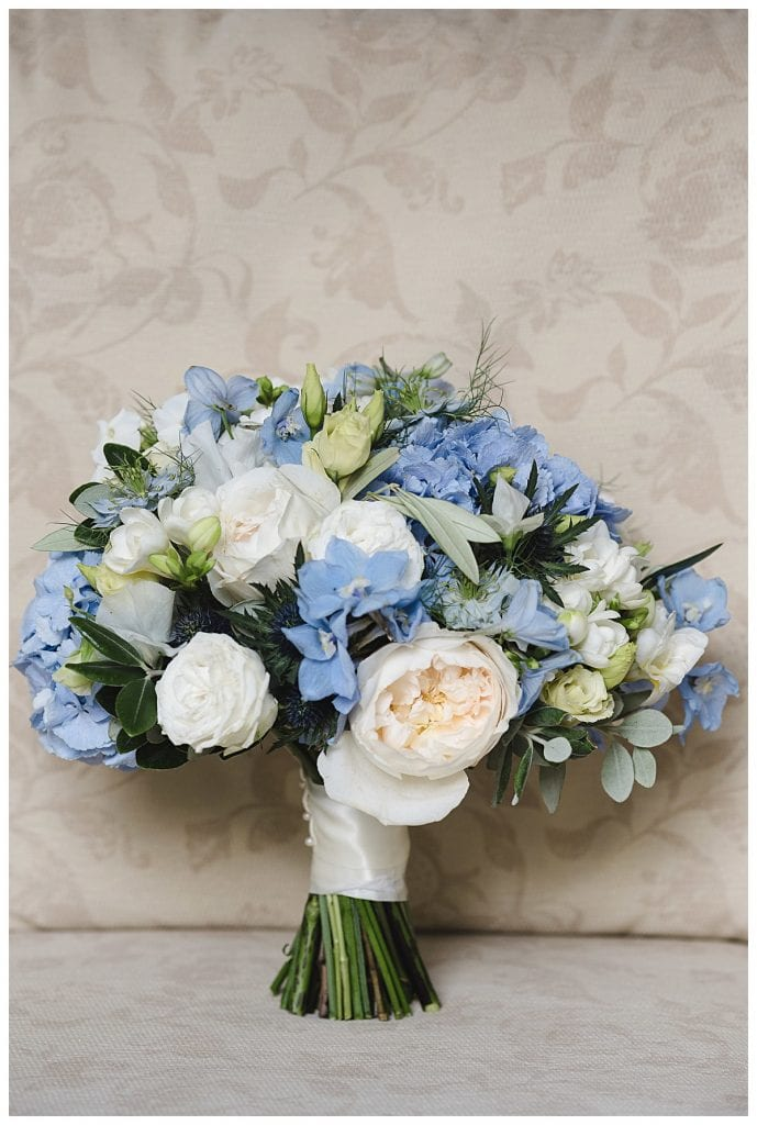 Cotswold Marquee Wedding Ivory and Blue wedding bouquet