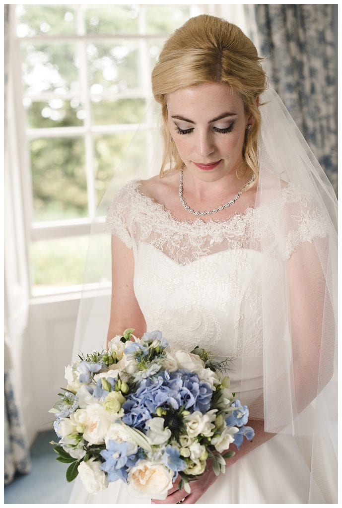 Cotswold Marquee Wedding Blue and ivory bridal bouquet