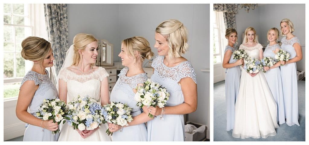 Cotswold Marquee Wedding bride and pale blue bridesmaids getting ready