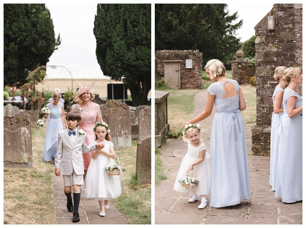 Cotswold Marquee Wedding Flower girl and page boy walking to the church