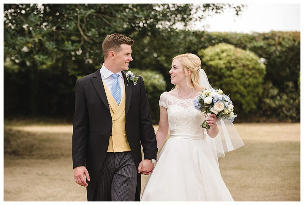 Bride and groom Cotswold Marquee Wedding