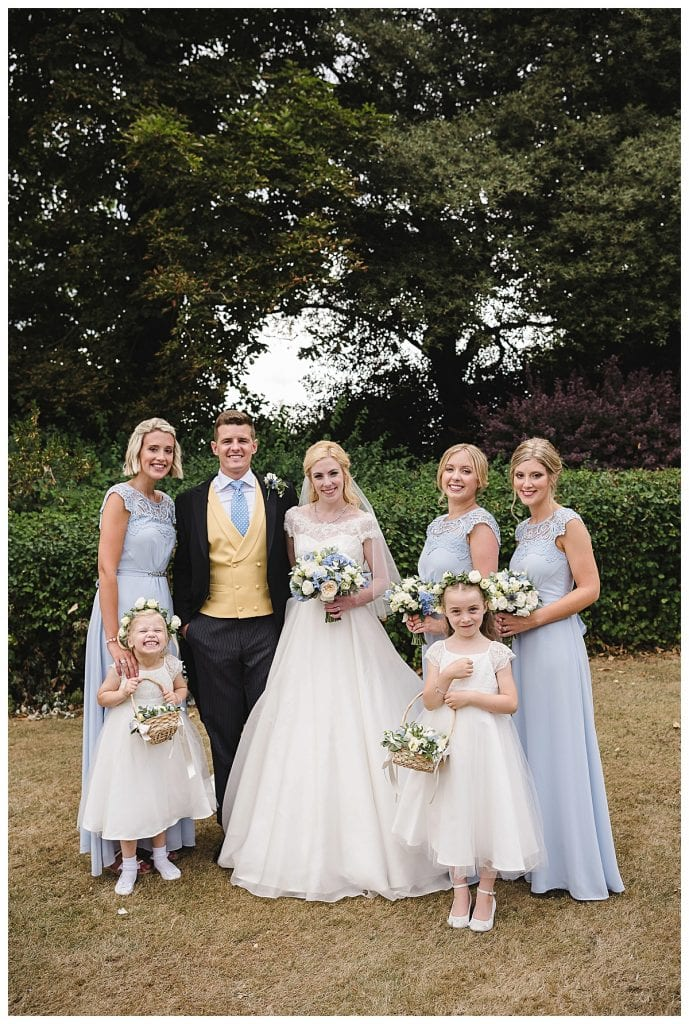 Bride groom and bridesmaids for this Cotswold Marquee Wedding