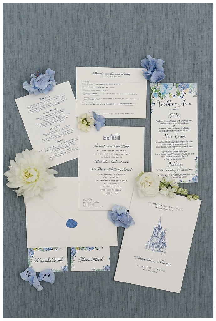 Flat lay of wedding stationary with flowers for a Cotswold Marquee Wedding