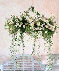 Hanging display of flowers
