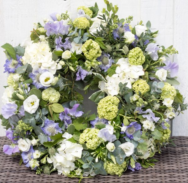 Sympathy wreath blue and white