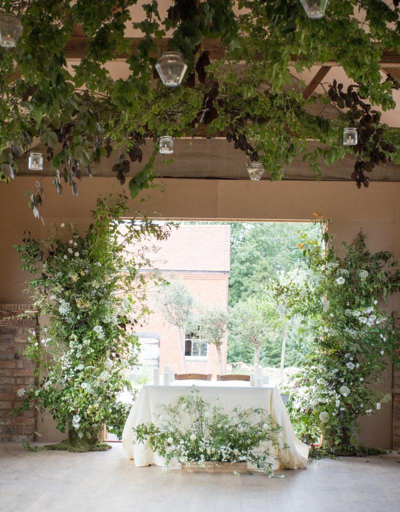 Foliage ceiling for a wedding
