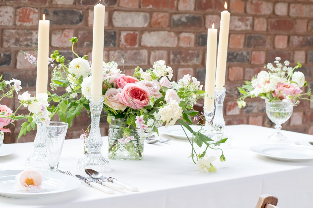 British grown table centre with candles
