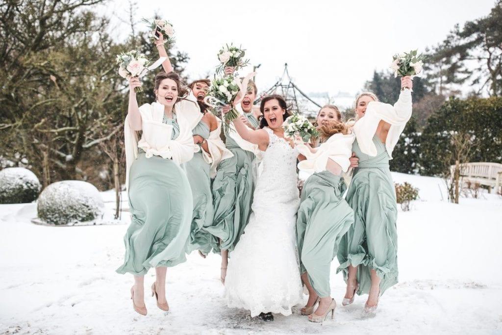 Snow wedding Kingscote Barn