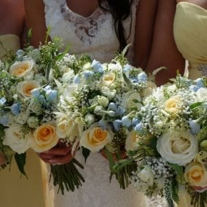 yellow and blue country wedding flowers