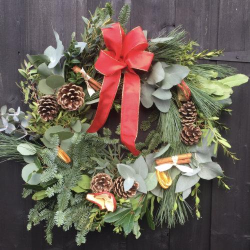 Traditional Christmas Door Wreath | Christmas door wreath for sale in Bristol